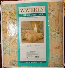 Waverly CAPE CORAL-CORAL 3 Piece Twin Quilt Set NIP, 1st Quality, Retail $175.00