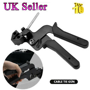 Stainless Steel Cable Tie Fasten Gun Pliers Crimper Adjustable Tension Cutter UK