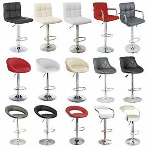 2* Black Grey White Red Cream Bar Stools Faux Leather Height Adjustable 360