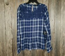 NEW Simply Vera Wang Blue Plaid Lace Peasant Top Blouse Size M