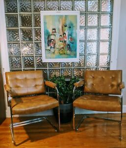 VINTAGE Pair PATRICIAN Chrome & Leather Tufted Arm Chairs- High Point mcm design