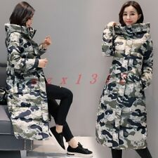 Sweet Womens Hooded Down Full Length Camo Floral Warm Winter Outdoor Coat Jacket