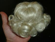 old antique DOLL WIG Short Curly Blond Hair Piece w Bangs vintage curls sz 8