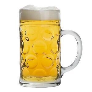 Glass German Beer Tankard. Stein Beer Dimple Glass. Gift Boxed - 2 Pints