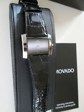Movado Eliro Museum Ladies Two-Tone Black & Silver Rectangle Watch 84 G4 1390