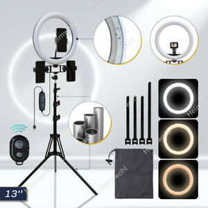 """13"""" LED Ringlicht Ringleuchte mit Stativ Lampe Handyhalter Selfie Fotografie"""
