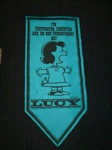 Vtg 1967 Peanuts Felt Banner Pennant Turquoise Lucy No One Understands Me