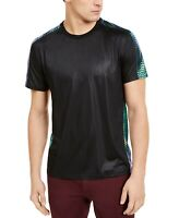 INC Mens T-Shirt Black Green Medium M Fate Iridescent Scale Trim Tee $29 057