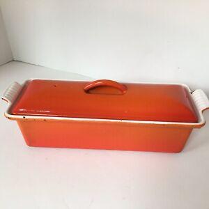 Vintage Le Creuset Pate Terrine Loaf Pan Flame Orange France # 28 Cast Iron