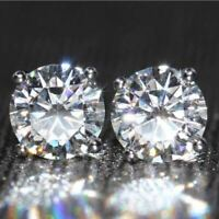 4Ct Round Gorgeous Cut Moissanite Solitaire Stud Earrings 14K White Gold Finish