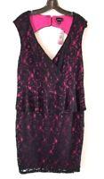 NWT TORRID Sleeveless Black Lace Over Pink Peplum Dress Sz 14
