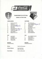 Teamsheet - Leeds United v Watford 2005/6 Play-Off Final