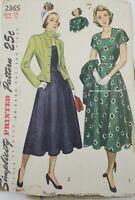 VTG Sewing Pattern 1948 Simplicity #2365 Size 14 Bust 32 Dress/ Jacket Guernsey
