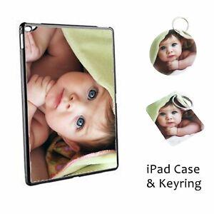 Personalised iPad Air, Pro Mini 2 3 4 5 Case Set Custom Photo Gift Logo +keyring