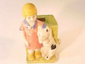 ADORABLE VINTAGE 1930S LITTLE ORPHAN ANNIE TOOTHBRUSH HOLDER BISQUE JAPAN