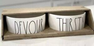 "Rae Dunn - DEVOUR THIRSTY - XL   8"" White Ceramic Dog Bowl Set of 2 In Gift Box"