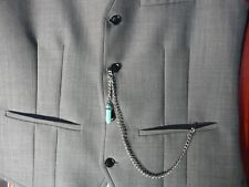 Single albert silver plated turquoise Crystal stone pocket watch chain fob