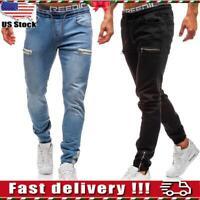 Mens Elasticated Waist Jeans Zipper Joggers Denim Long Trousers Pants Size M-3XL