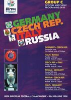 Programme : Euro 96 Group C - Germany/Czech Republic/Italy/Russia - June 1996