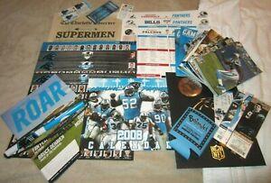 Carolina Panthers Programs, Stat Sheets, Koozie, Ticket Stub, Buttons, Etc.