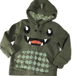 Baby Gap  Happy Hooded Monster Hoodie Zip Up Sweatshirt With Spikes Sz 4T Green