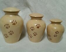 NEW Large Pet/dog PAW PRINT URN/Cremation/ashes/ Carmel pearl color MADE IN USA