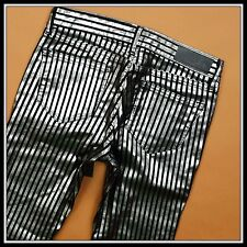 1#  KARL LAGERFELD COURTNEY 5-POCKET JEGGING STRIPE BLACK SLIVER RARE JEAN 26/30