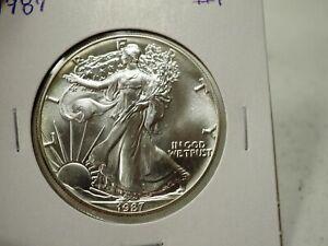 NGC GEM BU .999 Pure 1987 American Silver Eagle Dollar $1