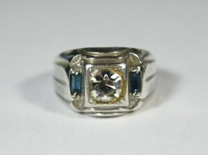 Vintage USA Sterling Signet Ring Eight Corner Cubic Zirconia & Marquis Size S