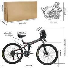 26'' E-bike City Mountain Folding Bicycles 21-Speed 350W Electric Bike Red USA