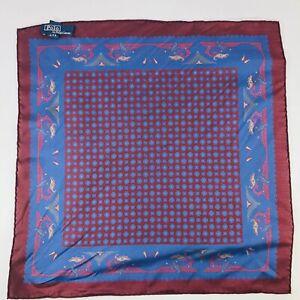 Polo Ralph Lauren Italy Silk Pocket Square Dark Purple Bluue Floral