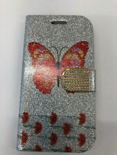 SAMSUNG GALAXY S3 MOBILE PHONE SILVER WITH BUTTERFLY  FLIP CASE WALLET