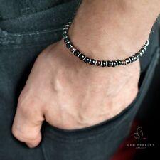 Mens Bracelet - Onyx Agate - Garnet, Stainless Steel, Gemstone - Custom Length