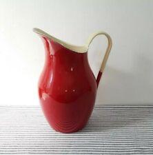 More details for vintage red enamel pitcher large jug with handle retro kitchenalia enamelware