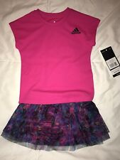 NWT Baby Girls Adidas Outfit Set Pink Purple 12 Months Top Skirt/ Shorts
