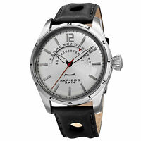 Men's Akribos XXIV AK850SS Silver-tone Retrograde Date Black Leather Strap Watch