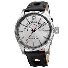 Men's Akribos XXIV AK850SS Silver-tone Retrograde Date Black Leather Strap Watch
