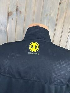 Mens UNDER ARMOUR Combine Black & Yellow Full Zip Athletic Jacket  Sz XL