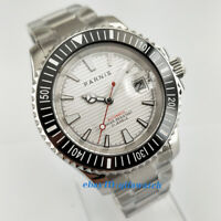 41mm Parnis Date steel Case Luminous White Dial Automatic Men's wrist Watch