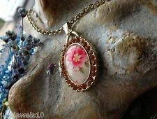 Locket Necklace Chain Vintage Style Jewellery Floral Amber Crystals Embossed