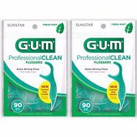 2 Pack Lot GUM Professional Clean Flossers Fresh Mint 90ct each 180 Total Floss