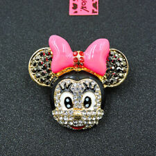 Betsey Johnson Pink Enamel Crystal Bowknot Mouse Charm Animal Brooch Pin Gift