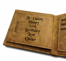 Men's Personalised Engraved Brown Real Leather Wallet Credit Card Holder Gift