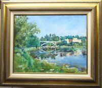 H D Becker Original Oil Painting Summer Impressionist Landscape Narrowsburg NY