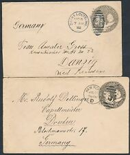 #U351 (2) DIFF USED ENTIRES USA TO GERMANY 1893 CANCEL BT5520