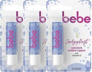 3 X Bebe lip Balm Classic  nourished, with vitamin E, dry lips, 4.9 g - Genuine