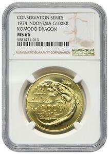Indonesia, 100000 Rupiah, 1974, Gold, Komodo Dragon, NGC MS66
