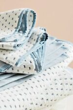Anthropologie Bath Towel DOTTED JACQUARD Hand Reverse Cotton Portugal Blue NWT