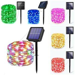 Party Solar Fairy String Lights 200 LED Outdoor Xmas Garden Street Lights 7Color