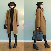 Korean Womens Wool Blend Trench Long Coat Windbreaker Warm Parka Outwear Camo